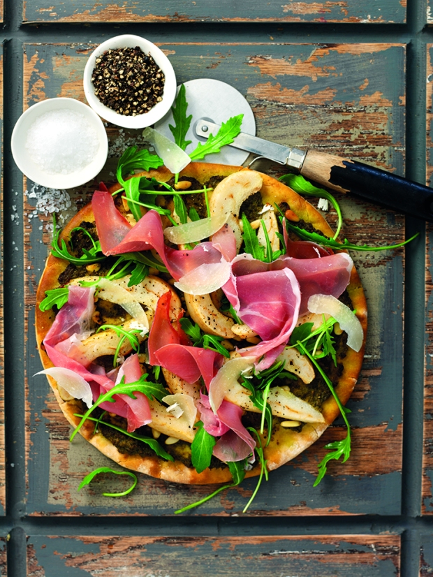 South African Pear, Parma Ham and Rocket Pizza